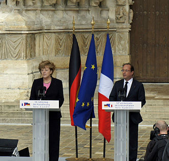 France–Germany relations - 50th anniversary of reconciliation, 8 July 2012: Angela Merkel (left), Federal Chancellor of Germany, with François Hollande (right), President of the French Republic.