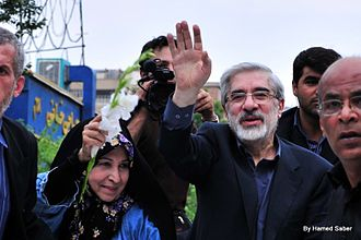 2009 Iranian presidential election protests - Presidential candidate Mir-Hossein Mousavi and his wife, Zahra Rahnavard in the protests of 15 June which recorded as the biggest unrest since the 1979 revolution