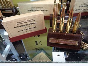 7.62×37mm Musang - Image: 7.62×37mm Musang cartridges on display