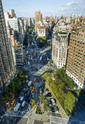 X Shaped Intersection Of Broadway From Lower Right To Upper Left And Amsterdam Avenue Looking North Sherman Square