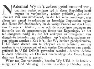 Aan het Volk van Nederland - Circulaire of the Provincial-Executive of Friesland, ordering local authorities to counter the spread of copies of the pamphlet (click for translation).