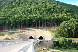 Bundesautobahn 71 - Southern mouth of the Eichelberg tunnel near the town of Meiningen, seen from Jüchsetal bridge