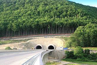 Bundesautobahn 71 - Southern mouth of the Eichelberg tunnel near the town of Meiningen, seen from Jüchsetal bridge