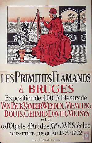 Exposition des primitifs flamands à Bruges - Official poster of the exhibition, designed by Amédée Lynen