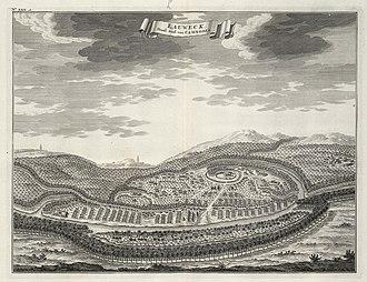 "Dark ages of Cambodia - Drawing of Dutch mapmaker Johannes Vingboons ""Eauweck, hooftstadt van Cambodia - Longvek, capital of Cambodia"""