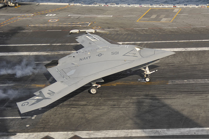 File:A U.S. Navy X-47B unmanned combat air system demonstrator conducts a touch and go landing on the flight deck of the aircraft carrier USS George H.W. Bush (CVN 77) May 21, 2013, in the Atlantic Ocean 130521-N-ZZ999-102.jpg
