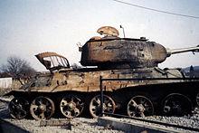A destroyed T-34-85 tank in Karlovac, Croatia.jpg