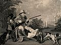 A gouty man on a velocipede out shooting with his dogs, his Wellcome V0010869.jpg