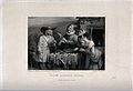 A group of people are standing around a table loaded with je Wellcome V0039551.jpg