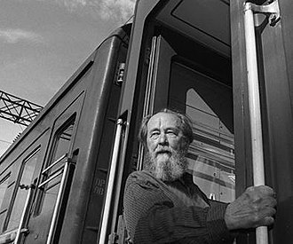 Aleksandr Solzhenitsyn - Aleksandr Solzhenitsyn looks out from a train, in Vladivostok, summer 1994, before departing on a journey across Russia. Solzhenitsyn returned to Russia after nearly 20 years in exile.