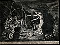 A witch at her cauldron surrounded by beasts. Etching by J. Wellcome V0025851.jpg