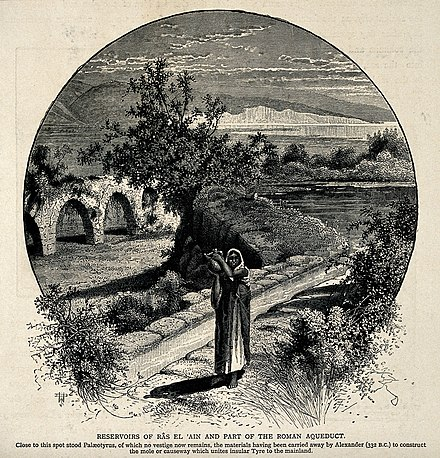 A woman carrying water from Ras al-Ain, 1881 wood engraving by US- American landscape artist and illustrator John Douglas Woodward A woman standing in front of the reservoirs of Ras El 'Ain a Wellcome V0020147.jpg