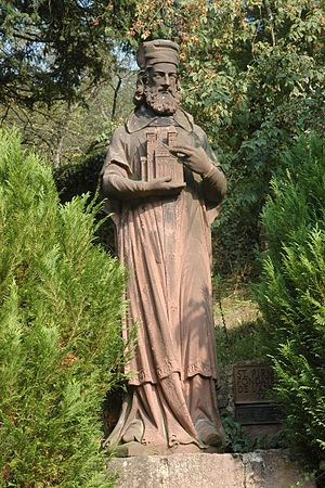 Murbach Abbey - 19th century figure of Saint Pirmin at Murbach Abbey