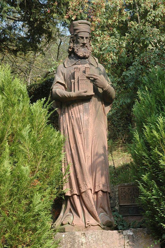 Nygotisk statue av den hellige Pirmin ved klosteret Murbach