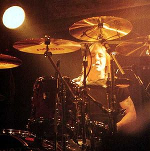 Ballbreaker - Phil Rudd performs at the KeyArena in Seattle on 12 August 1996 during the Ballbreaker World Tour