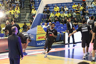 Acie Law - Law with Partizan Belgrade playing against Maccabi Tel Aviv.