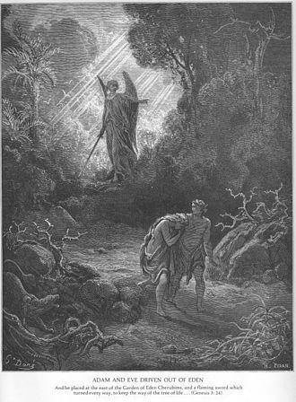 Criticism of Christianity - Adam and Eve being driven from Eden due to original sin, portrayed by Gustave Doré.