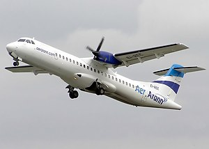 Aer Arann - An Aer Arann ATR 72 taking off from Bristol Airport