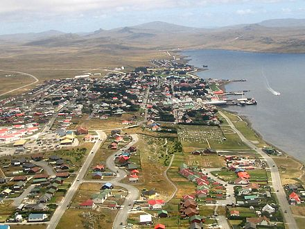 Stanley is the financial centre of the Falkland Islands' economy. Aerial photo Port Stanley edit.jpg