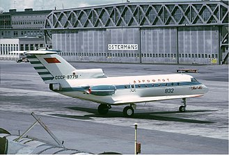 Aeroflot accidents and incidents in the 1970s - An Aeroflot Yak-40 at Stockholm-Bromma Airport,  Sweden. (1971)