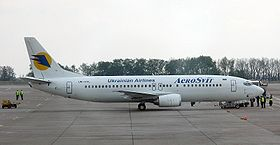 One of Aerosvit Airline's Boeing 737 planes at Boryspil International Airport, Kyiv in 2006.