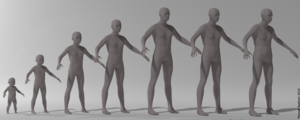 MakeHuman - Interpolation of MakeHuman characters: 1st, 3rd, 5th, 7th are targets, others intermediate shapes.