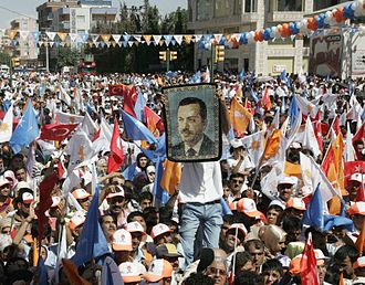 Electoral history of Recep Tayyip Erdoğan - A wall rug of Erdogan at a rally of the Justice and Development Party