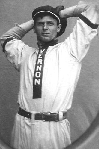 "Vernon Tigers - Al Carson donning the 1911 Tigers home uniform with ""Vernon"" vertically affixed to the placket of the shirt."