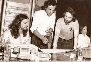 Albert Verrecchia - Early 70's studio session with Albert Verrecchia (center), Alan Sorrenti (left) and Jean-Luc Ponty (right).