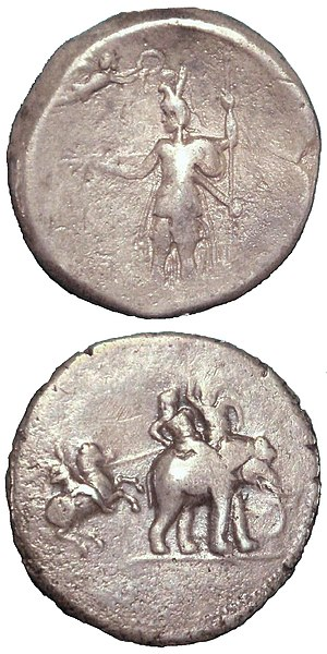 "Hellenistic influence on Indian art - ""Victory coin"" of Alexander the Great, minted in Babylon c.322 BCE, following his campaigns in the subcontinent. Obv: Alexander being crowned by Nike. Rev: Alexander attacking king Porus on his elephant. Silver. British Museum."