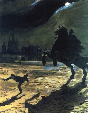 Russian symbolism - Alexandre Benois, Illustration to Alexander Pushkin's The Bronze Horseman, 1904. The Russian capital was often pictured by symbolists as a depressing, nightmarish city.