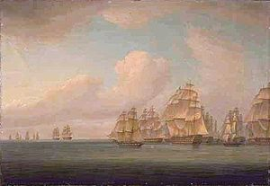 Allemand's expedition of 1805 - Allemand's squadron in pursuit of the Calcutta convoy, 25 September 1805, Thomas Whitcombe, National Library of Australia