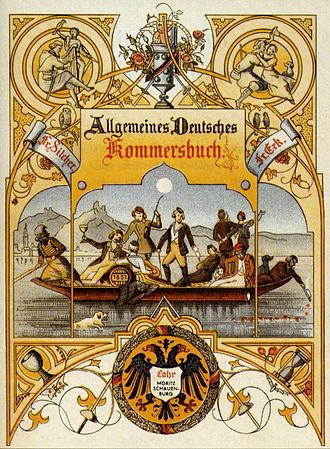 "Commercium song - Allgemeines Deutsches Kommersbuch (""General German Commercium Songbook""), cover sheet of 1858"