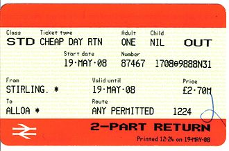 Alloa railway station - Ticket issued on the first day of use by the general public