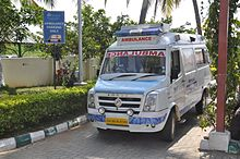 A Force Traveller Ambulance, used by Narayana Health