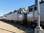 Amtrak 929 and 938 at Oakland Maintenance Facility, July 2019.JPG