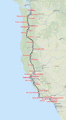 Coast Starlight Wikipedia - Amtrak map of routes in us