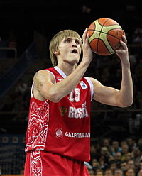 Andrei Kirilenko shooting a free throw for the Russian national team