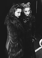 Hadid with her sister, Bella, at the Anna Sui Fall Winter 2017 show at New York Fashion Week, Skylight Clarkston Square, February 15, 2017