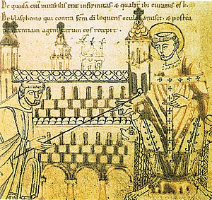 Anno II - Archbishop Anno instates Erpho, first abbot of Michaelsberg Abbey, 12th century manuscript