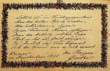 Johann Wolfgang von Goethe, Eintragung in das Stammbuch Antonie Brentanos, 1. Januar 1815, Frankfurt am Main, Freies Deutsches Hochstift (Quelle: Wikimedia)