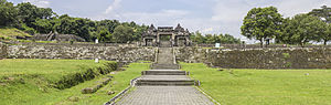 Ratu Boko - The front gate and walls of the largest terrace, viewed from the front. To the left is the crematorium.