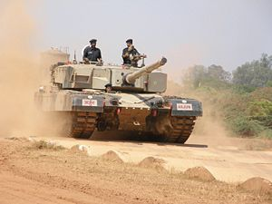 An Arjun MBT being test driven on the bump tra...