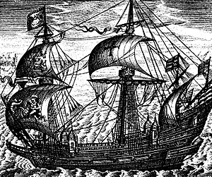 Richard Leveson (admiral) - The Ark Royal (1587), by Claes Janszoon Visscher.