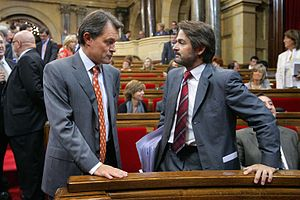 Artur Mas - Mas talking to Oriol Pujol at Parliament in 2009