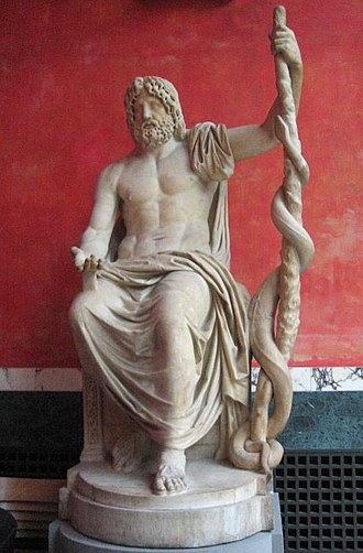 Therapeutae of Asclepius - Symbolic statue of Asclepius holding the Rod of Asclepius, in later times was confused with the caduceus, which has two snakes