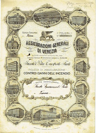 Assicurazioni Generali - Insurance policy of the Assicurazioni Generali, issued 1919