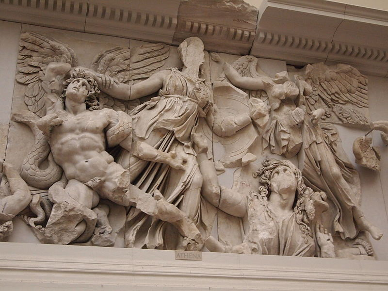 Athena and Nike fight Alkyoneus, Gaia rises up from the ground (5336871341).jpg