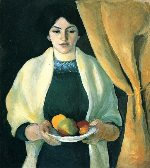 August Macke Portret z jabłkami. Żona malarz, 1909