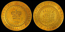 The 1852 Adelaide Pound On Average Contains 8 75 Grams Of Gold 0 9170 Fine And Weighs 2580 An Ounce
